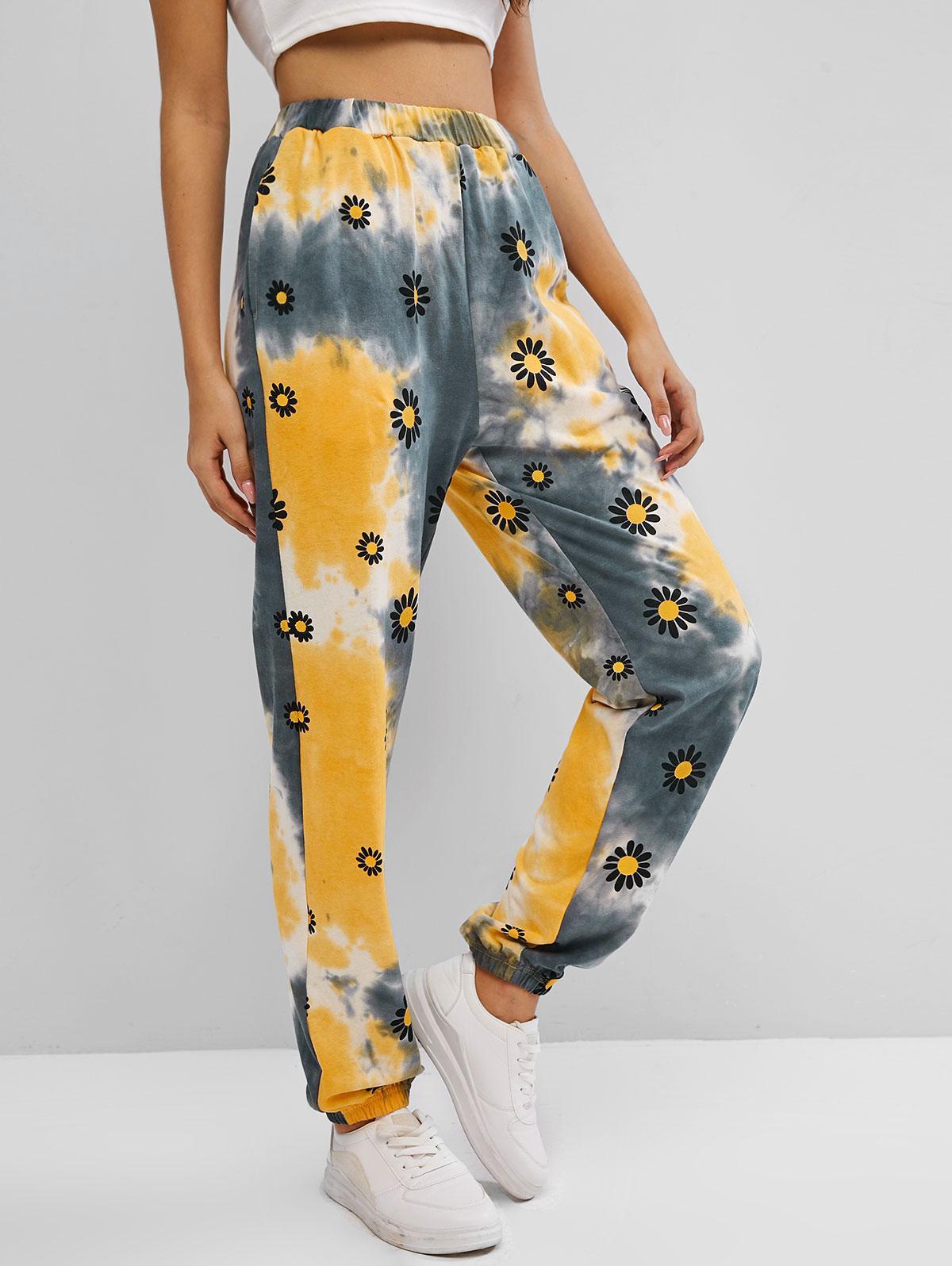 ZAFUL Floral Print Tie Dye Pants