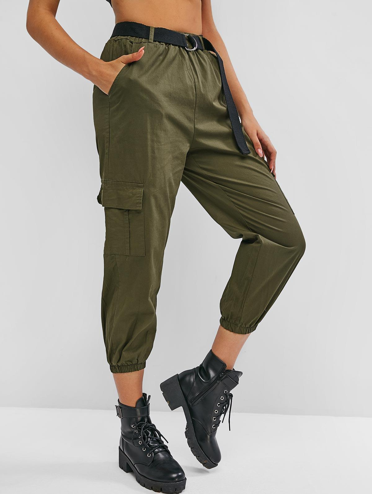 Flap Pockets Buckle Belted Cargo Pants
