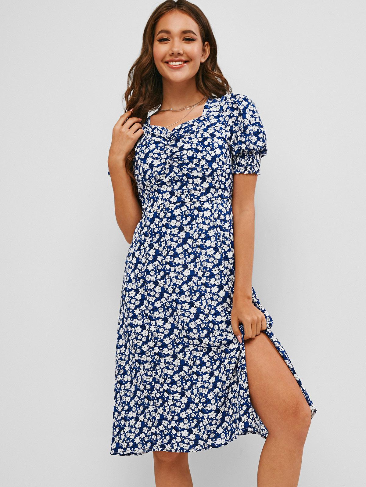 Ditsy Floral Slit Ruched Smocked Cuff Tea Dress