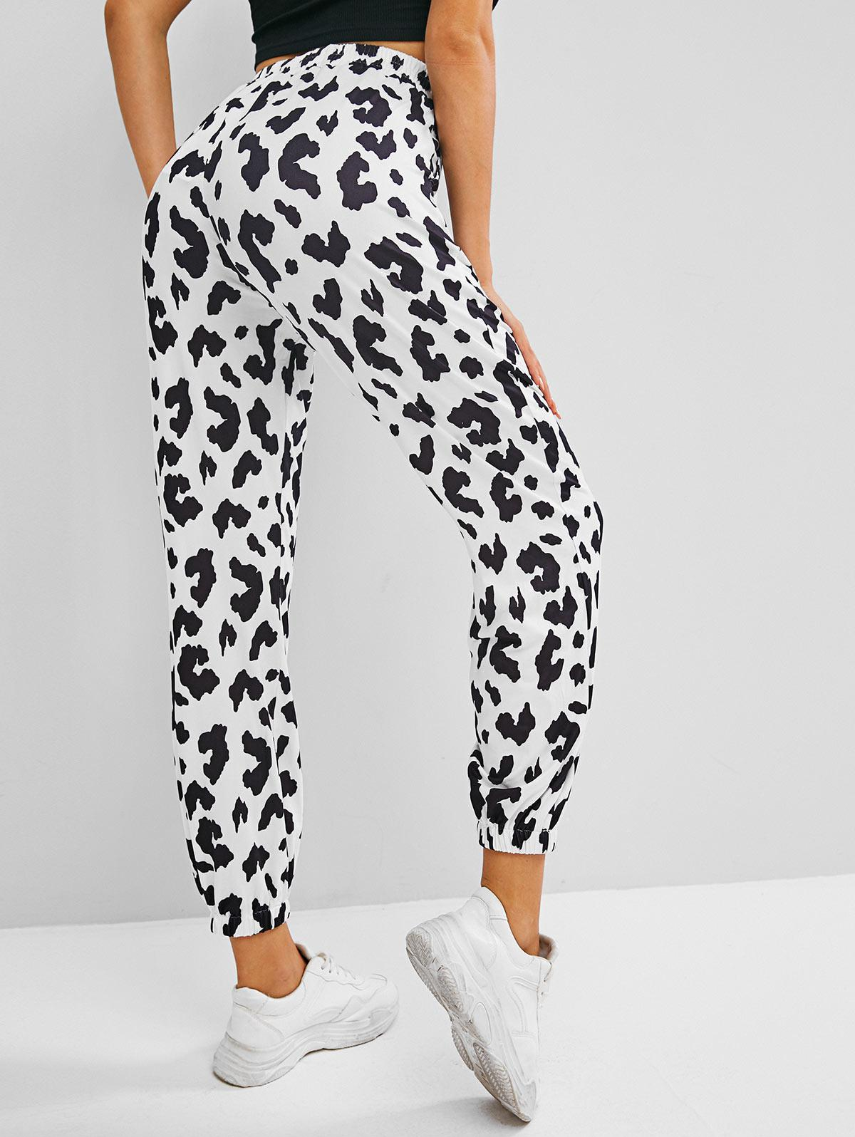 Animal Cow Print Pocket High Rise Jogger Pants