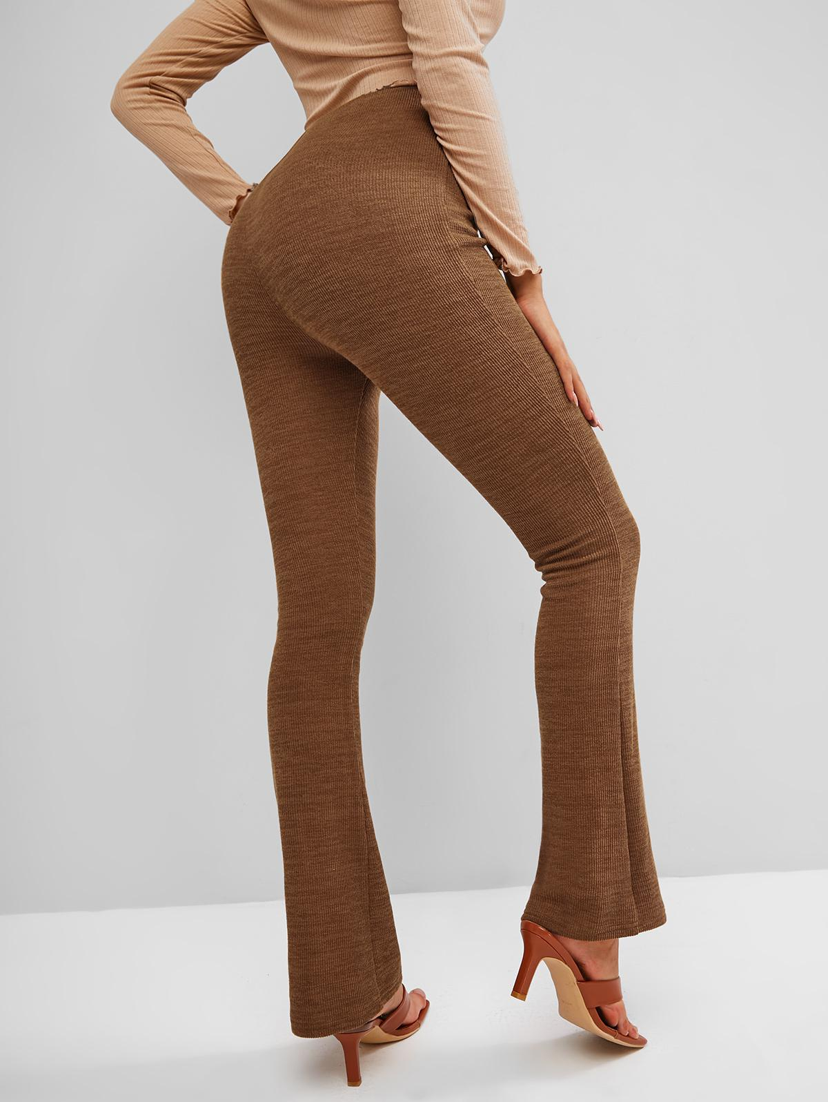 ZAFUL Knitted High Waisted Boot Cut Pants