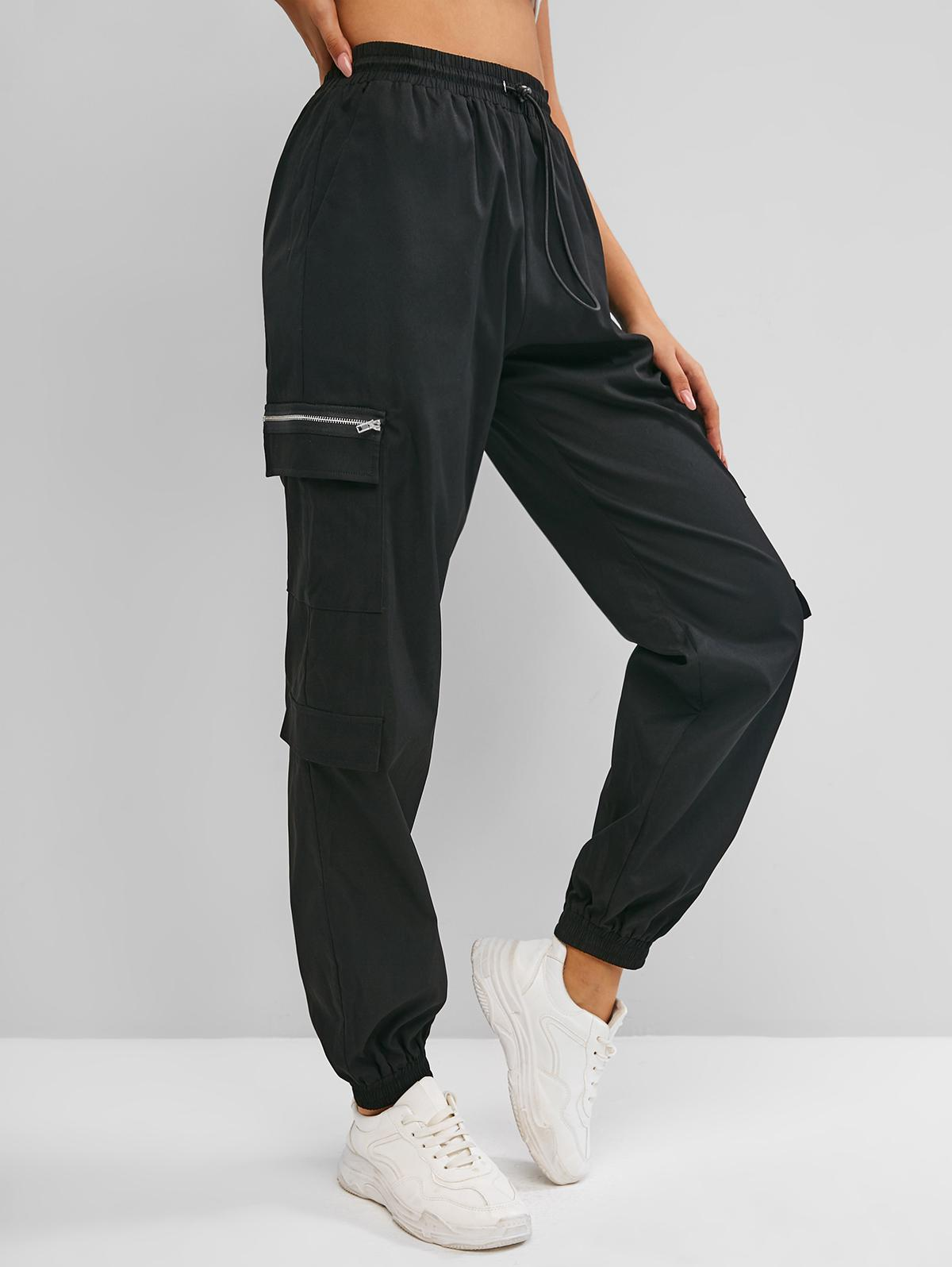 ZAFUL Zippered Drawstring Cargo Pants