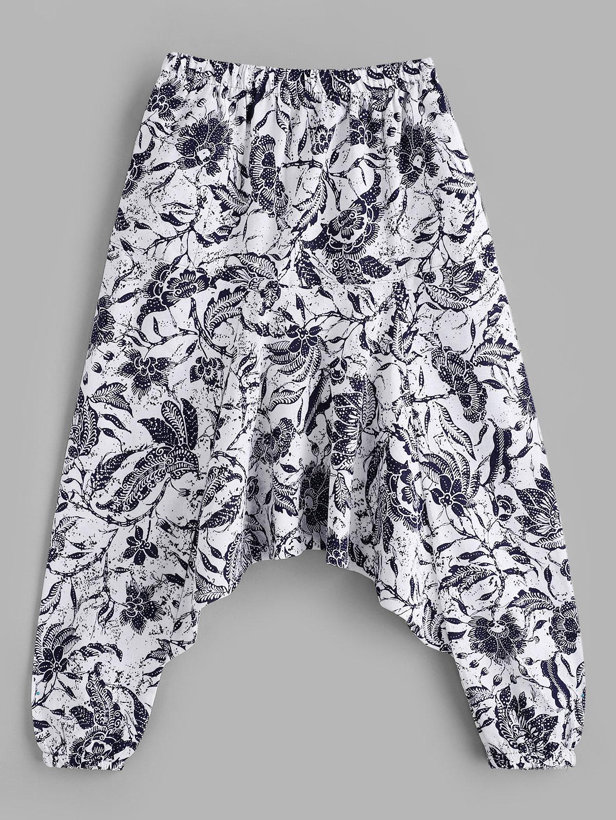 zaful Flower Print Harem Pants