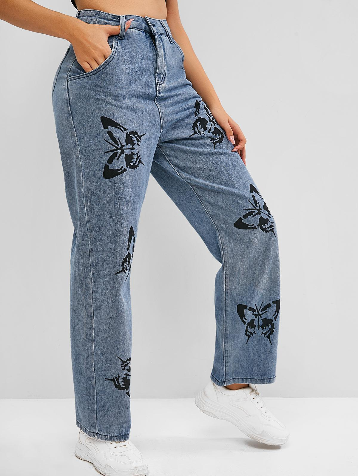 High Waisted Butterfly Print Straight Jeans