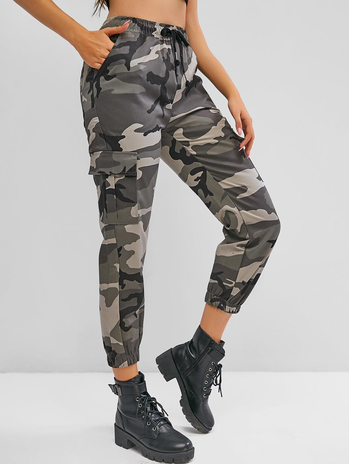 Drawstring Camouflage Flap Pockets Cargo Pants