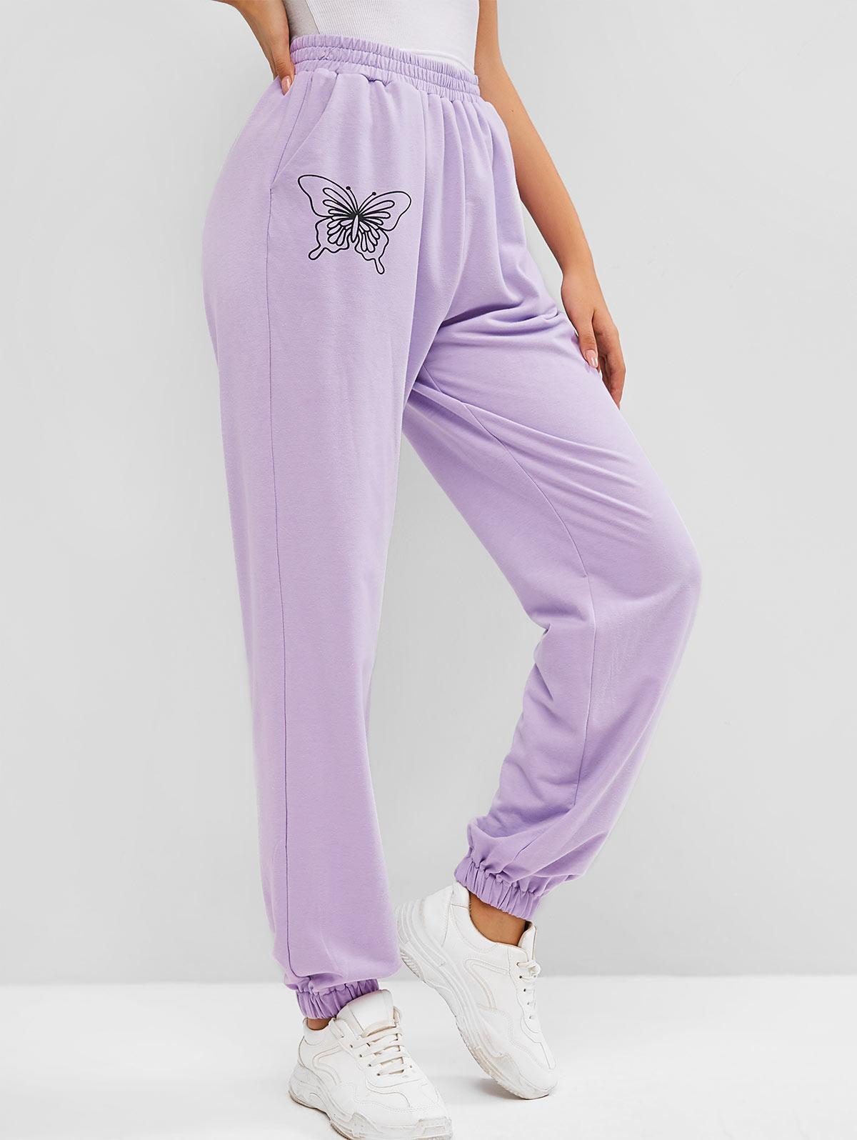 ZAFUL Pocket High Waisted Butterfly Print Sweatpants