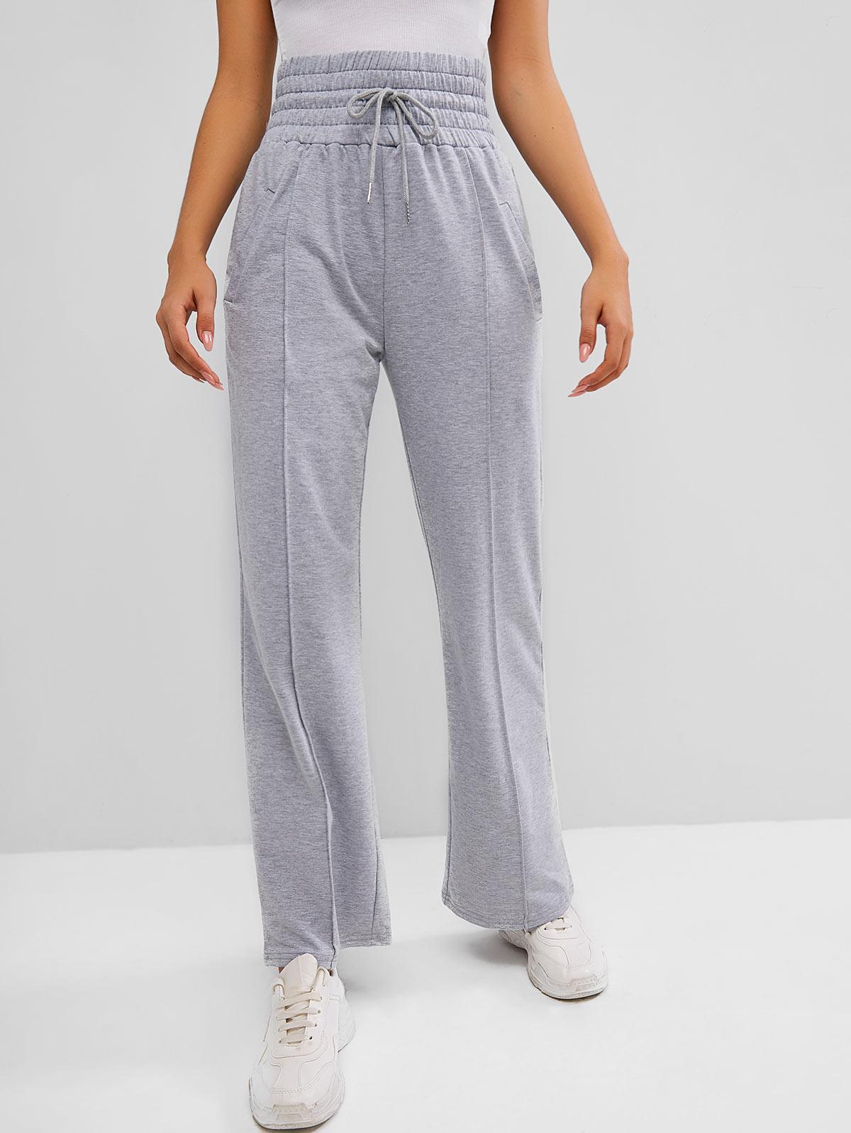 High Waisted Drawstring Pintuck Straight Sweatpants