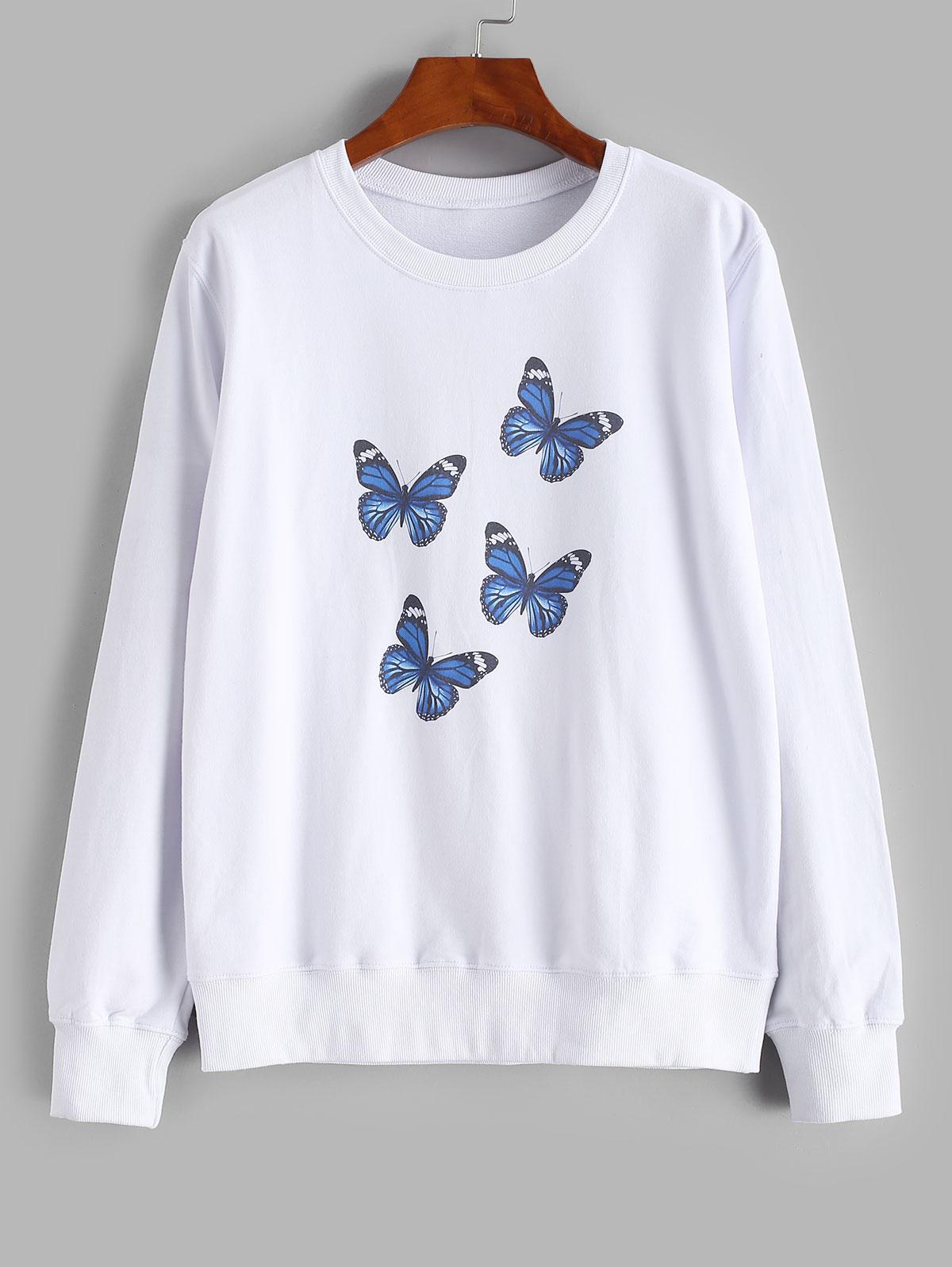 Crew Neck Butterfly Print Sweatshirt