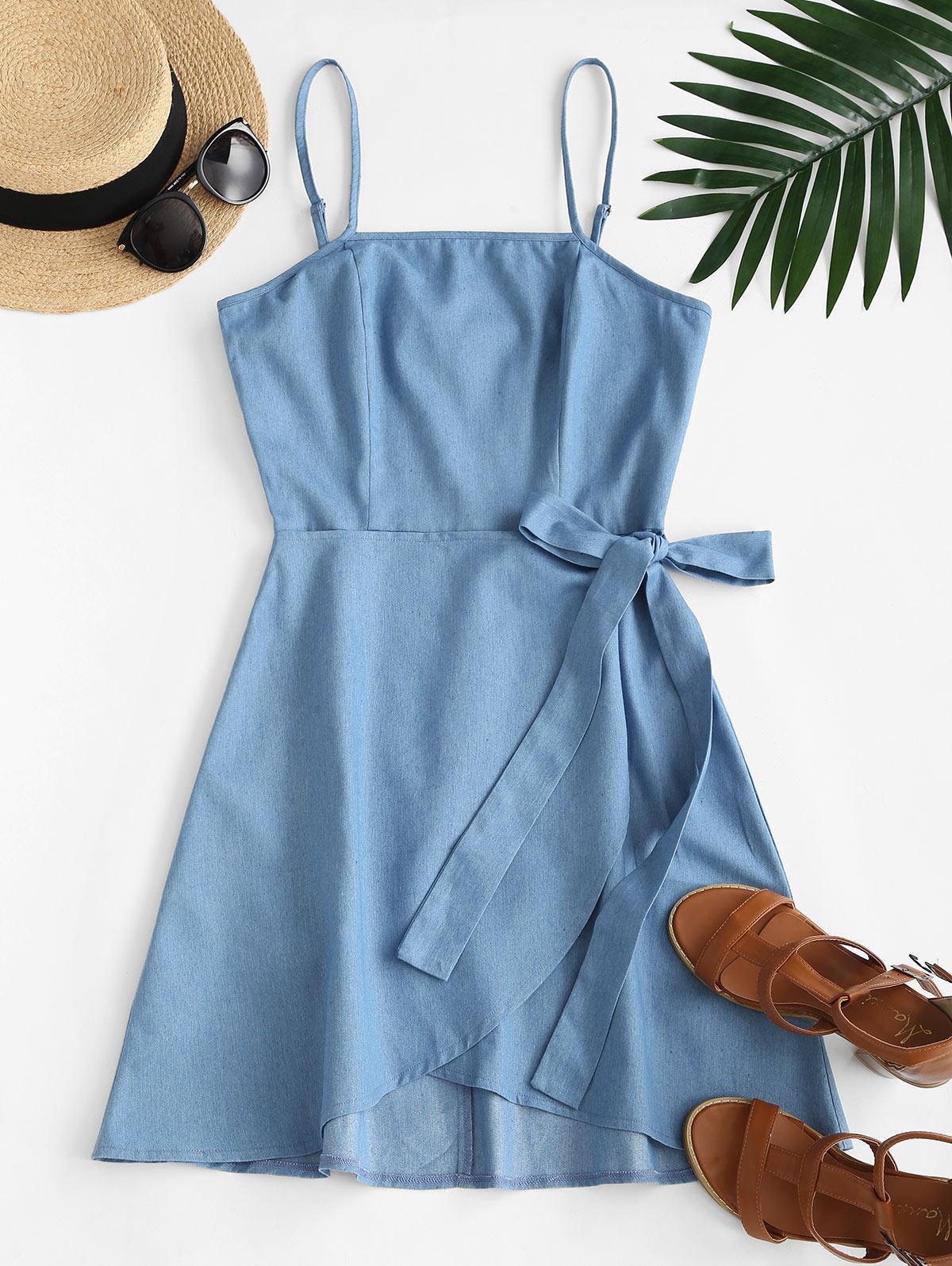 ZAFUL Overlay Tie Chambray Cami Dress