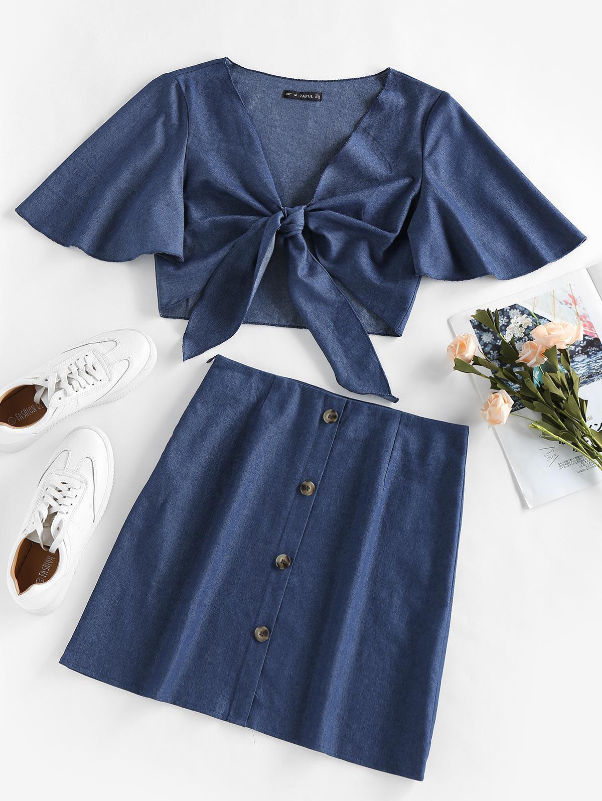 ZAFUL Chambray Tie Front Flutter Sleeve Skirt Set