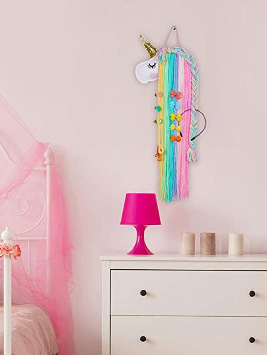 Colorful Unicorn Shape Braided Wall Hanging Hairpin Holder