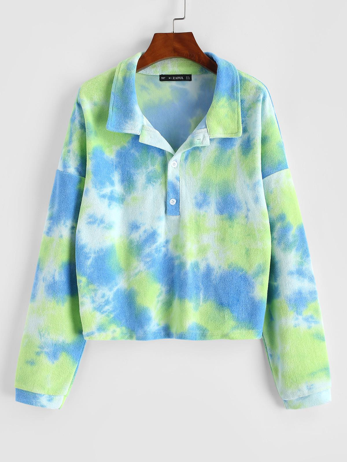 Tie Dye Terry Cloth Drop Shoulder Sweatshirt