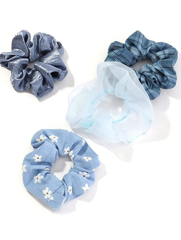 4Pcs Flower Plaid Fabric Scrunchy Set