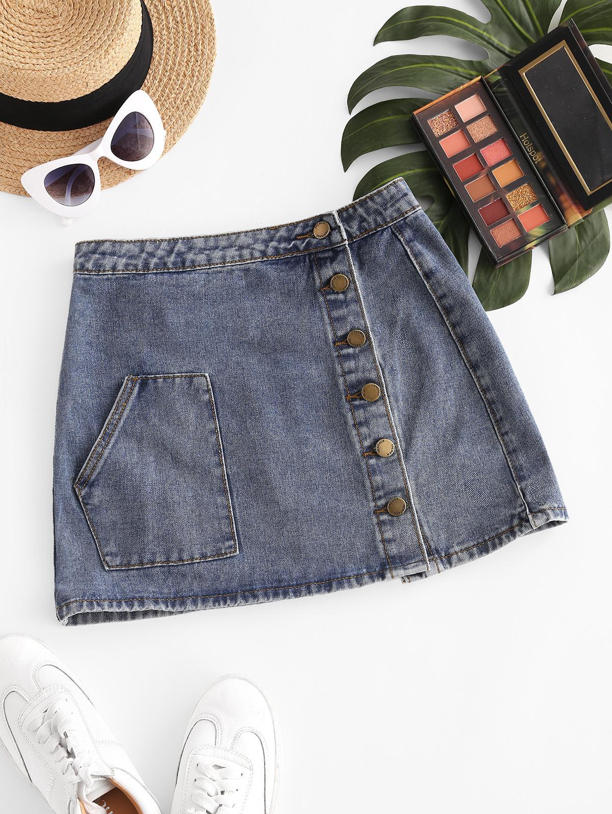 Button Up Pockets Denim Mini Skirt