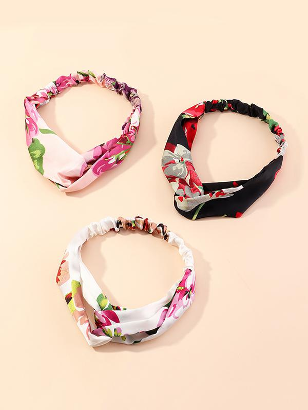 3Pcs Floral Printed Headband Set