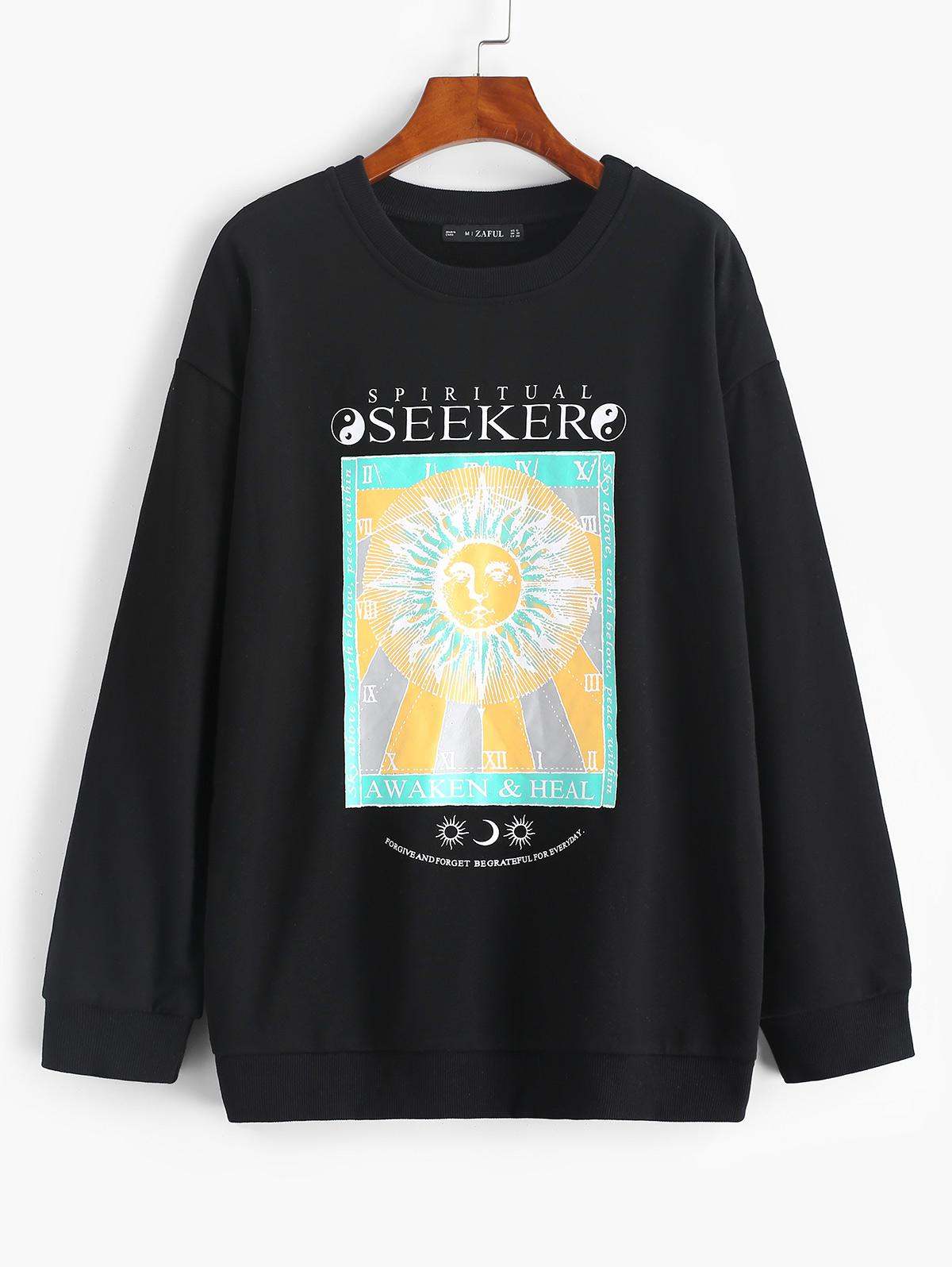 Sun Slogan Print Drop Shoulder Pullover Sweatshirt