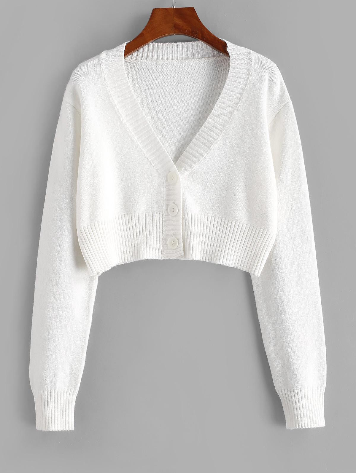 Rib-knit Trim Button Up Crop Cardigan