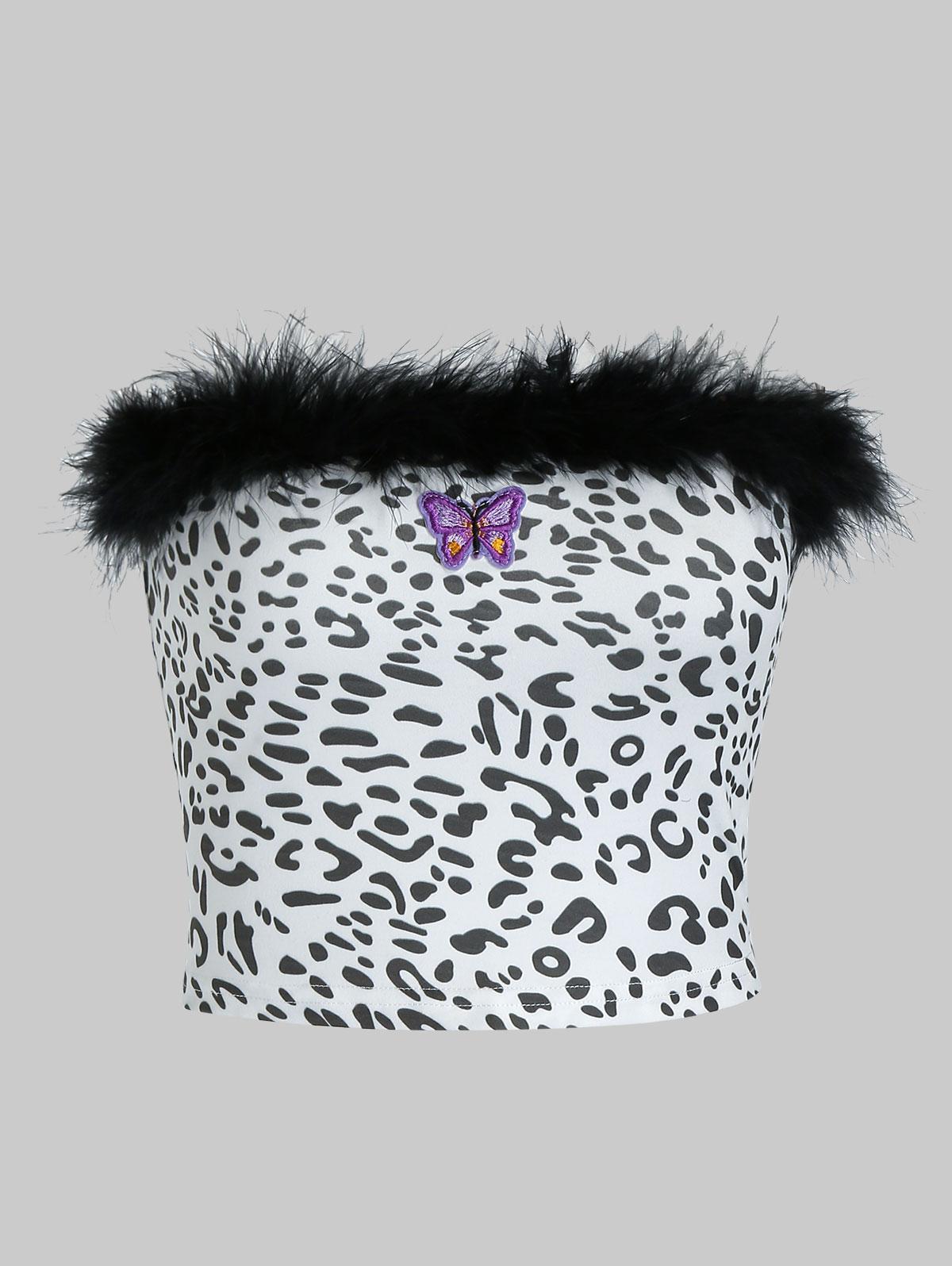 ZAFUL Leopard Butterfly Applique Faux Feather Tube Top