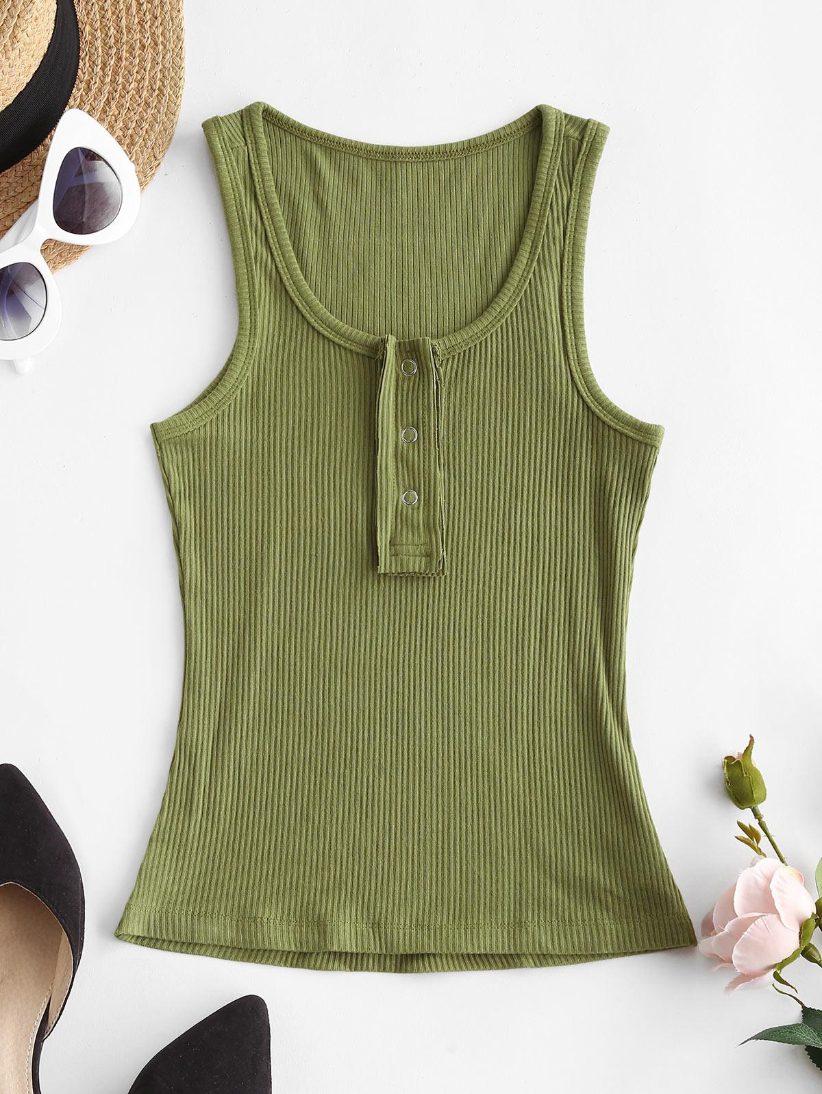 Solid Snap Button Ribbed Tank Top