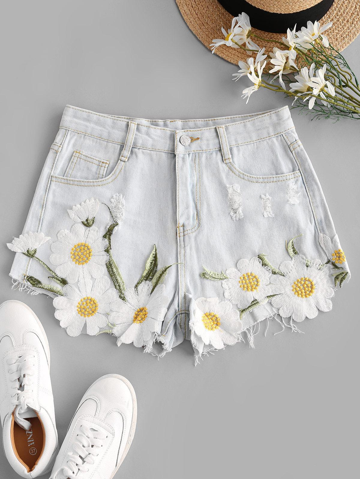 Daisy Embroidered Patched Distressed Frayed Denim Shorts