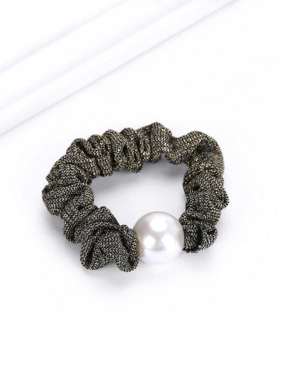 latest Faux Pearl Elastic Metallic Hair Tie - ARMY GREEN