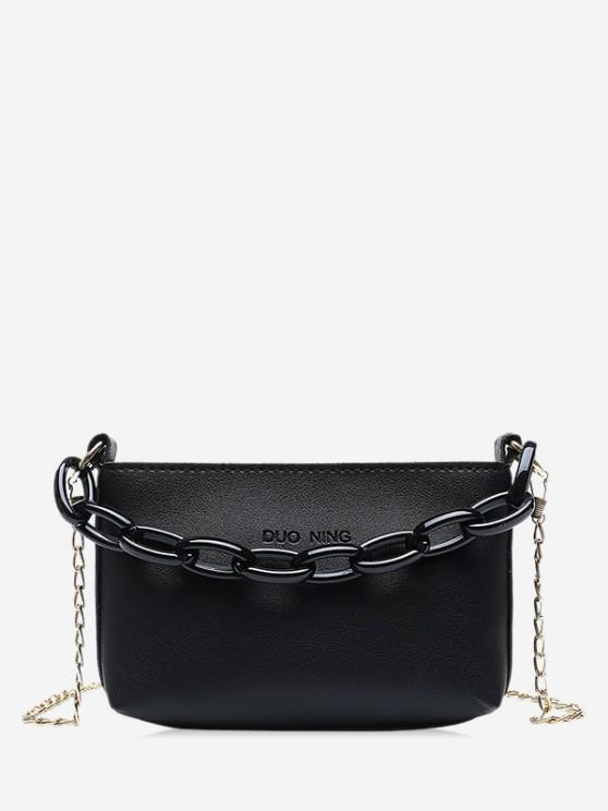 fashion Pure Color Chain Embellished Leather Mini Sling Bag - BLACK
