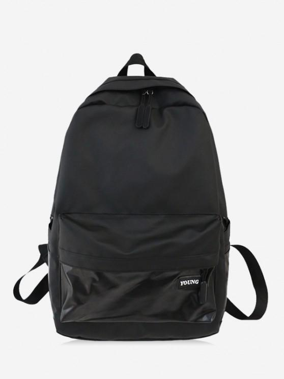 online Brief Large Capacity School Backpack - BLACK