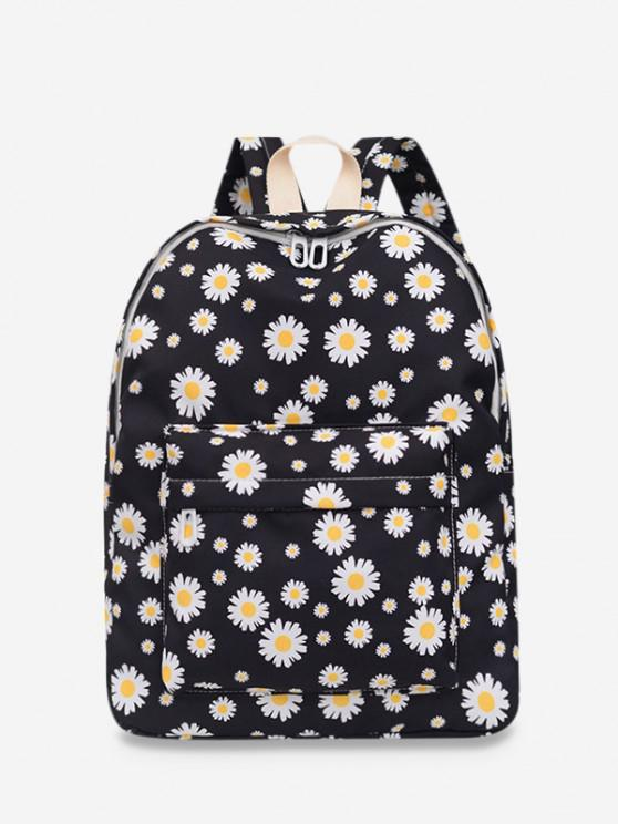 outfits Daisy Floral Print Nylon Top Handle Backpack - BLACK