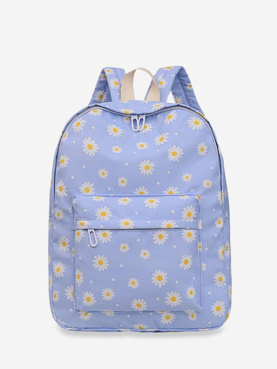 shop Daisy Floral Print Nylon Top Handle Backpack - LIGHT PURPLE