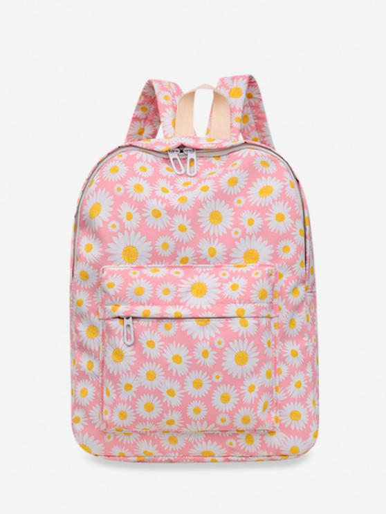 Daisy Floral Print Nylon Top Handle Backpack - وردي فاتح
