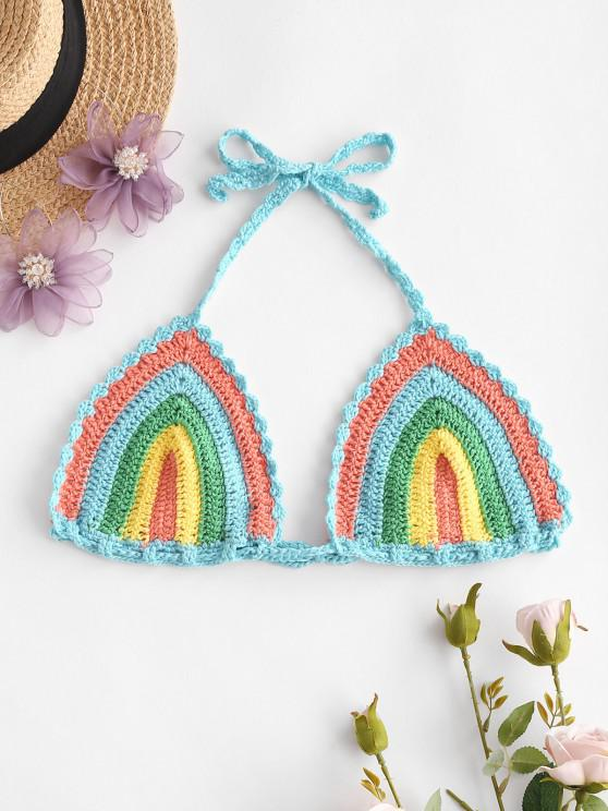 unique Rainbow Crochet Halter Bikini Bra - MULTI ONE SIZE