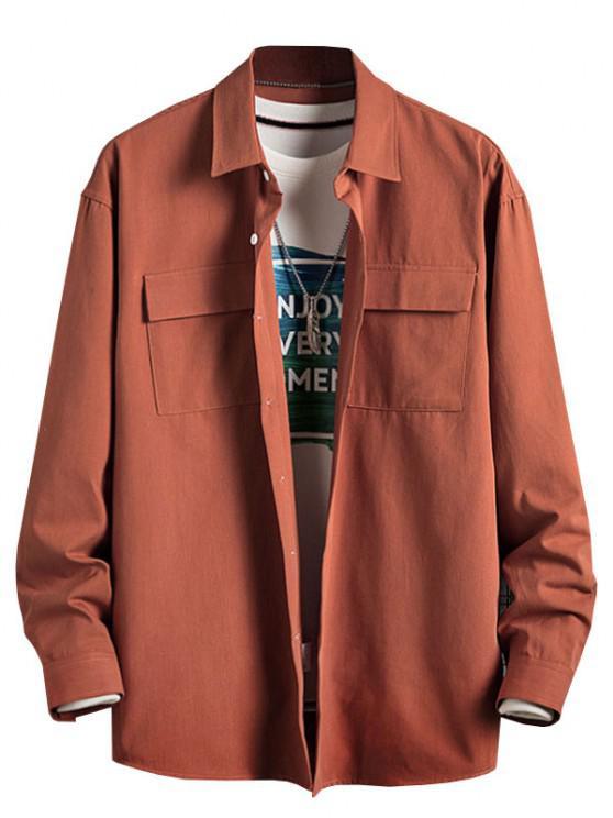 Plain Flap Pocket Basic Shirt - برتقالي قاتم L