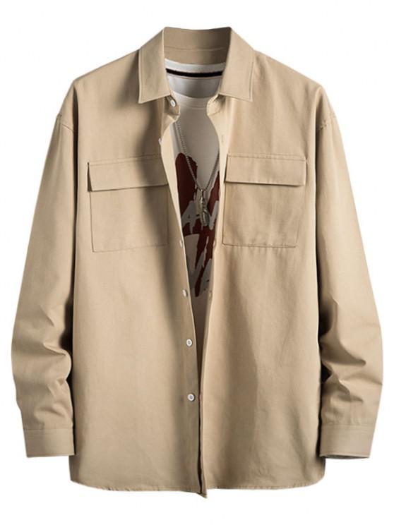 lady Plain Flap Pocket Basic Shirt - LIGHT KHAKI M