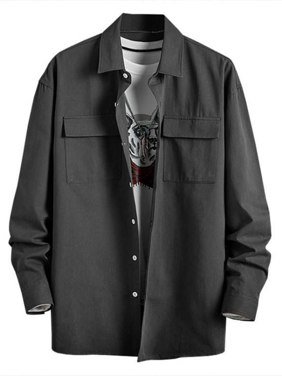 shops Plain Flap Pocket Basic Shirt - DARK GRAY XL