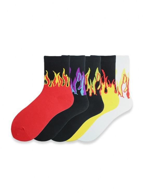 affordable 5Pairs Fire Print Hip-hop Socks Set - MULTI