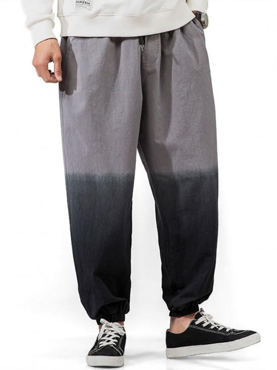 women's Ombre Beam Feet Casual Pull On Pants - BLACK XL