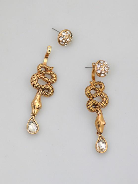 women Rhinestone Snake Long Drop Earrings - GOLDEN