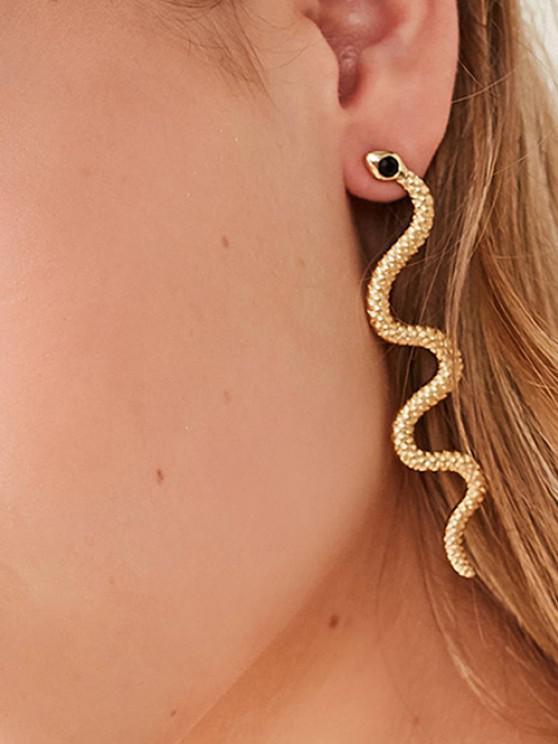 ladies Sinuous Snake Rhinestone Earrings - GOLDEN