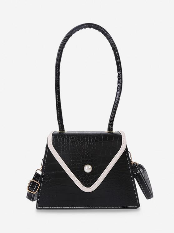 outfits Textured Faux Pearl Shoulder Bag - BLACK
