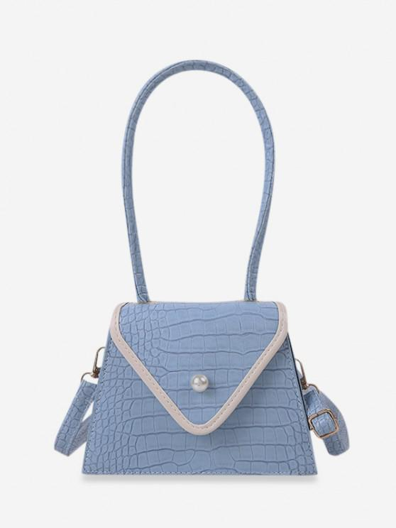 latest Textured Faux Pearl Shoulder Bag - LIGHT BLUE