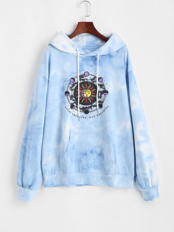 fancy Front Pocket Sun Moon Tie Dye Hoodie - LIGHT BLUE L