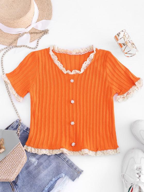 T-shirt en Tricot Festonné Perlé à Ourlet au Crochet avec Boutons - Orange Taille Unique