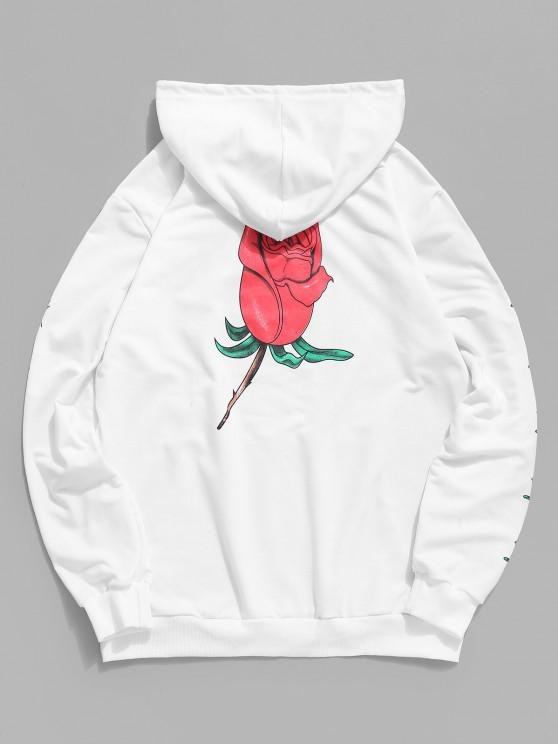 Sudadera con Capucha Estampado Floral Rosa Bolsillo Canguro - Blanco L