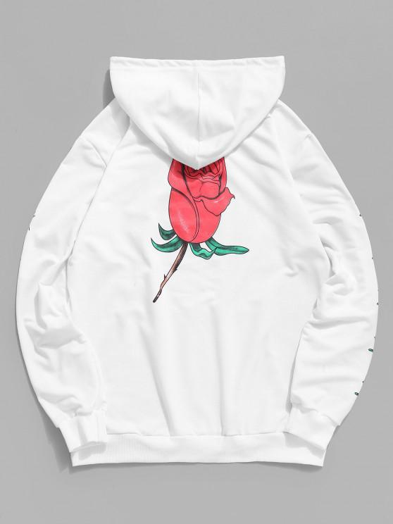 new Kangaroo Pocket Drawstring Rose Flower Print Hoodie - WHITE XL