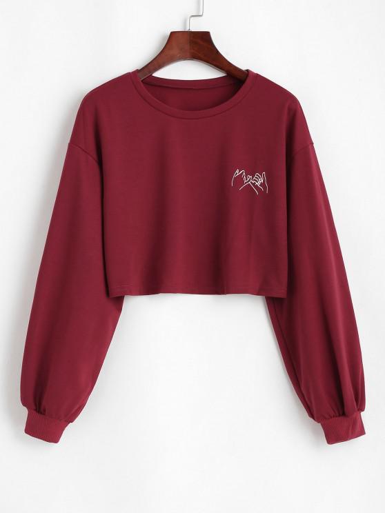 shop Cropped Gesture Graphic Sweatshirt - RED XL