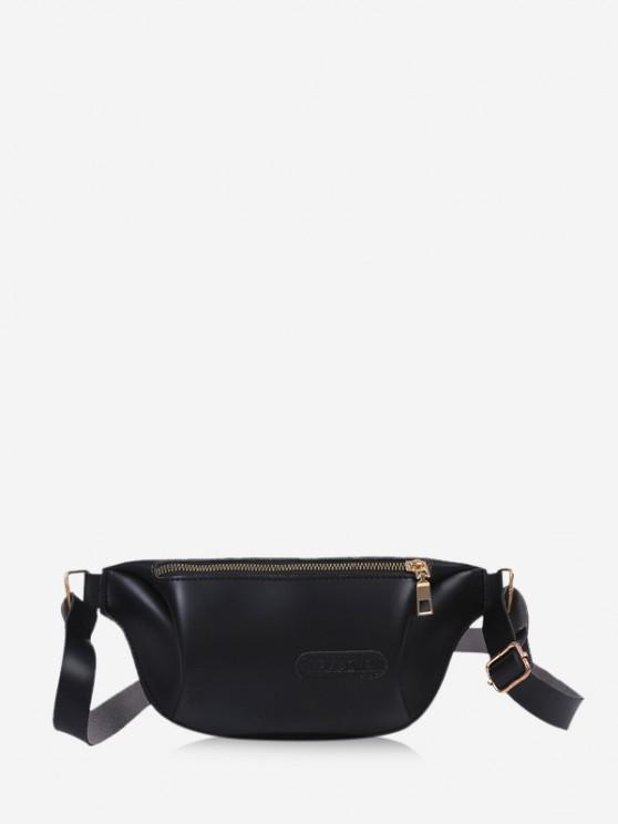 latest Solid Color Leather Chest Bag - BLACK