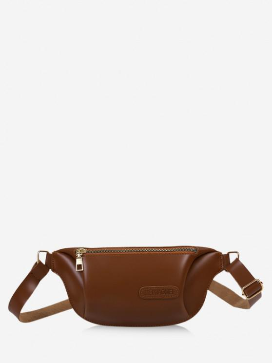 trendy Solid Color Leather Chest Bag - COFFEE