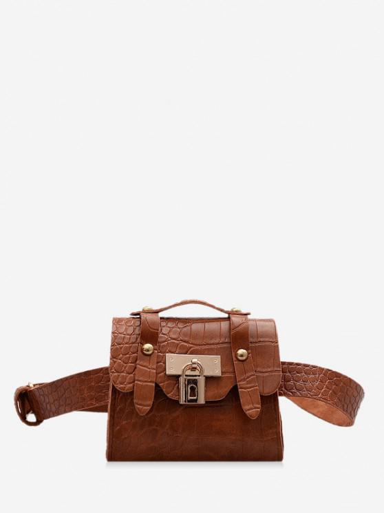 fancy Textured Lock Mini Chest Bag - COFFEE