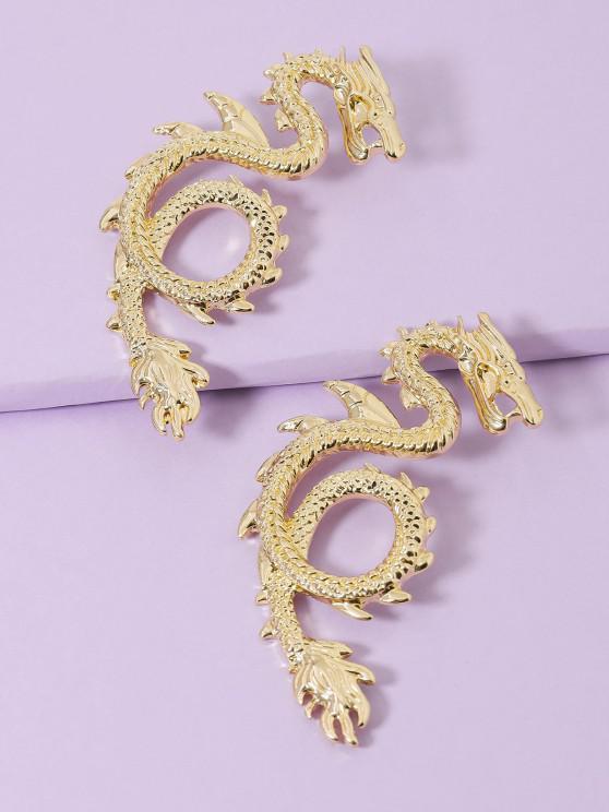 online Dragon Carved Stud Earrings - GOLDEN