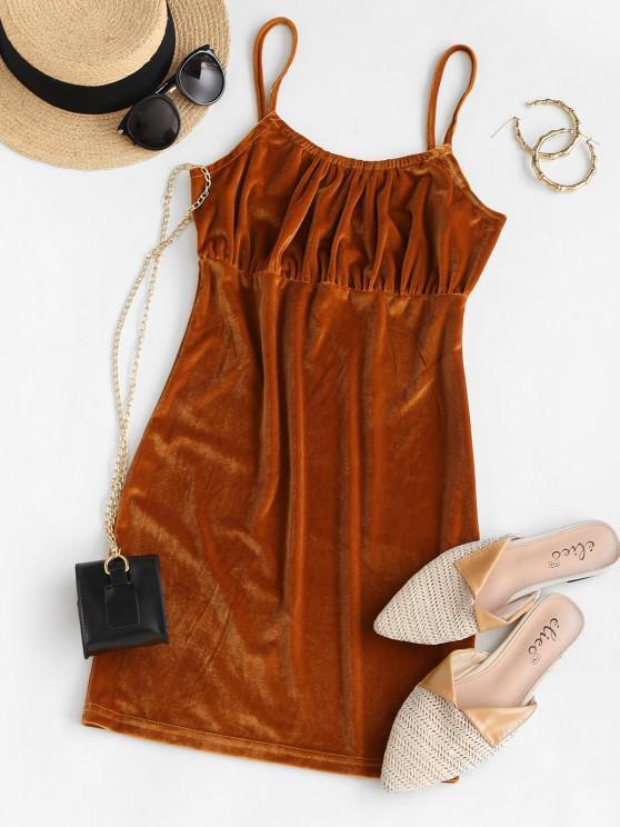 fashion Plain Ruched Velvet Mini Bodycon Dress - COFFEE L